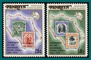 Penrhyn Island 1974 UPU Centenary #64-65,SG70-SG71