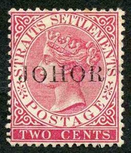 Johore SG15 2c Bright Rose with Overprint type 15 Fresh Mint (part gum)