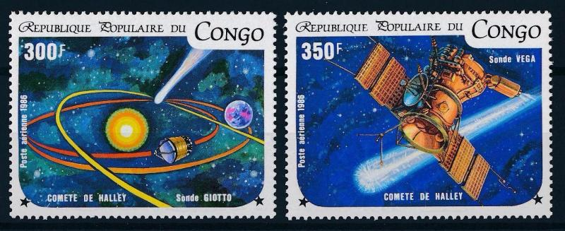 [64275] Congo Brazzaville 1986 Space Travel Weltraum Halley Comet From Set MNH