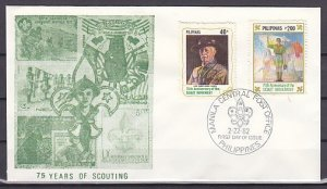 Philippines, Scott cat. 1577-1578. Scouting Year issue. First day cover. ^