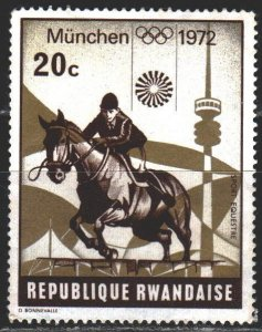 Rwanda. 1972. 521A from the series. Munich, summer olympics, equestrianism. M...