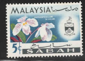 Malaysa Sabah  Scott 20a MH* Orchid stamp sidways watermark