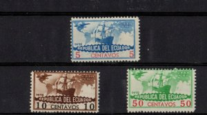 Set of 3 Airmail Stamps, Ecuador -az