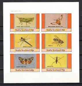 Staffa, Scotland Local. 1982 issue. Butterfly, Bee, Insects, IMPERF sheet/ 6.