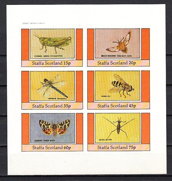 Staffa, Scotland Local. 1982 issue. Butterfly, Bee, Insects, IMPERF sheet/ 6