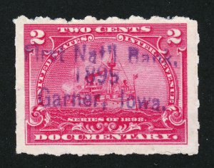 DOCUMENTARY SCOTT #R164 2¢ BATTLESHIP HANDSTAMP CANCEL - FIRST NATL BANK 1899