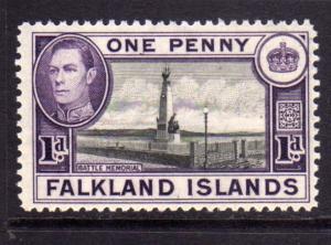 FALKLAND ISLANDS ISOLE 1938 BATTLE MEMORIAL KING GEORGE 1d  MNH