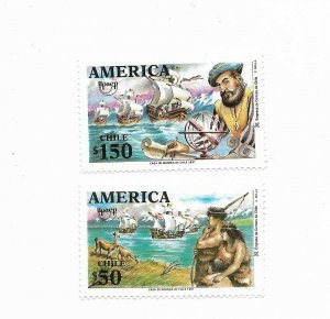 CHILE 1991 500TH ANNIV OF DISCOVERY OF AMERICA NATIVE AMERICAN SHIPS 2 VAL MNH