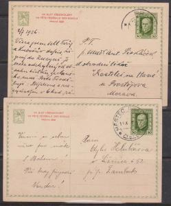 Czechoslovakia - Two 1926 Special Postcards for Sokol Youth Organization