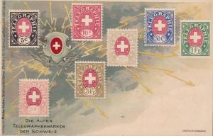 Switzerland c1930 Mint Color Post Card With Swiss Telegraph Stamps. Nice Image.