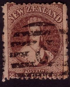 NEW ZEALAND 1864 Chalon 6d perf 12½ used ..................................37115