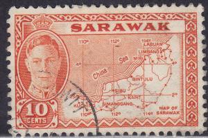 Sarawak 195 USED 1950 Map of Sarawak