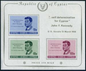 Cyprus 253a sheet,MNH.Michel Bl.3. President John F.Kennedy,1965.