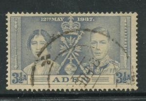 ADEN - Scott 15 - Coronation Issue - 1937- Used - Single 3.1/2a Stamp