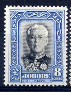 Malaya Johore, 1940 sg 130 8c ultram and blk, LM