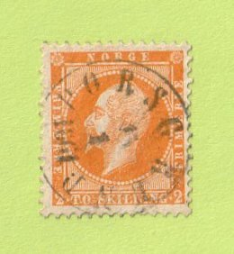 NOR SC #2 1857 King Oscar I w/SON (PORSGRUND / 01-15-1861) w/some stns on back