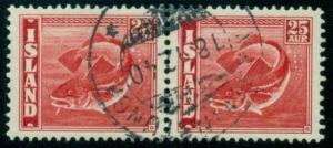 ICELAND BRIDGE CANCEL MARTEINSTUNGA (B2a) 1940 on 25aur Fish pair
