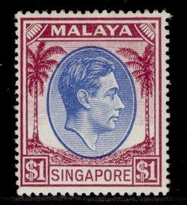 SINGAPORE GVI SG28, $1 blue & purple, M MINT. Cat £17.