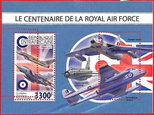 A1598 - CENTRAL AFRICAN -ERROR: MISSPERF S/S- 2018 RAF   Airplanes FLAGS