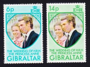 Gibraltar Royal Wedding Princess Anne 2v SG#323-324 SC#305-306