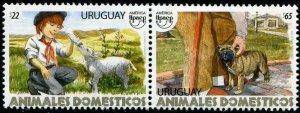 HERRICKSTAMP NEW ISSUES URUGUAY UPAEP 2018 Dog & Lamb Pair
