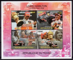 Chad 2008 LEWIS HAMILTON/Senna/Fangio/Schumacher/Formula 1 Sheetlet Perf.MNH