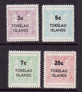 Tokelau-Sc#12-15-Unused NH set-Postal-Fiscal type-1970-