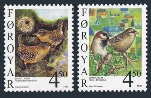 Faroe 350-351,MNH. Birds 1999.Passer domesticus,Troglodytes troglodytes.