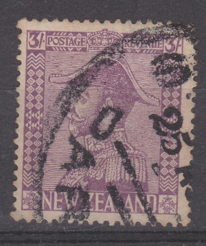 New Zealand 1926 3 Shilling Violet Admiral Sc#183 VF Used