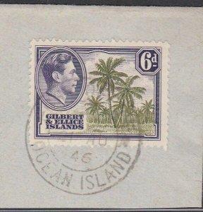 GILBERT & ELLICE IS GVI on 1946 piece POST OFFICE / OCEAN ISLAND cds........N471