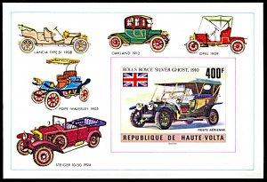 Upper Volta C208, MNH imperf., Rolls Royce Silver Ghost Car souvenir sheet