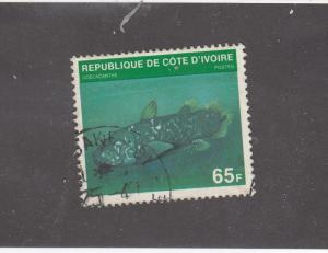 IVORY COAST # J21B VF-LIGHT USED 65f fish CAT VALUE $150