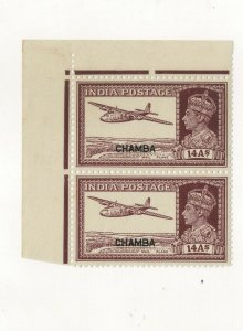 India  chamba State sg no 120 fine mint pair cv 36.00 gbp