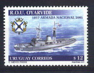 URUGUAY 2001 SHIPS OYARVIDE Yv 2003A MI 2637 MNH