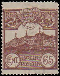 San Marino #66, Incomplete Set, 1903-1905, Hinged