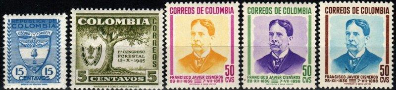 Colombia #575-9  F-VF Unused CV $3.80 (X625)