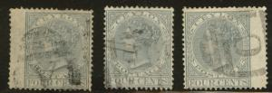 Ceylon Scott 64 used from 1872 Victoria  set perf 14 CC wmk