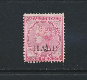 NATAL SOUTH AFRICA 1877, ½d on 1d, VF MINT SG#89 CAT£90 $115 (SEE BELOW