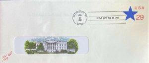 Pugh U619 Star Window Envelope #10 with White House Insert Cachet NEAT!