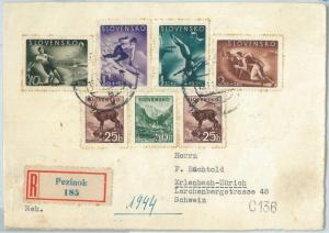 72993 - SLOVENIA - Postal History - STAMPS on cover: SPORT Skiing FOOTBALL  1944