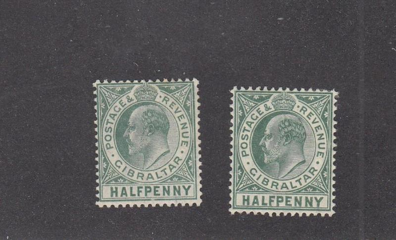 GIBRALTAR # 49-49A MH KGV 1/2p SHADES CAT VALUE $36+