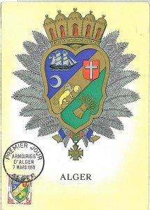 38749 - Algeria - POSTAL HISTORY -  MAXIMUM CARD  SHIPS Heraldry LIONS 1959