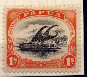 Papua 1907 sg 54 1/- orange-red and black. with constant plate flaw extra rud...