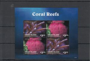 Union Island Grenadines St Vincent 2014 MNH Coral Reefs 4v M/S II Marine Needle