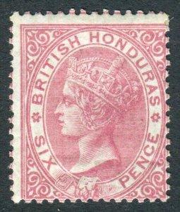 BRITISH HONDURAS-1865 6d Rose NO WMK. An average mounted example Sg 3