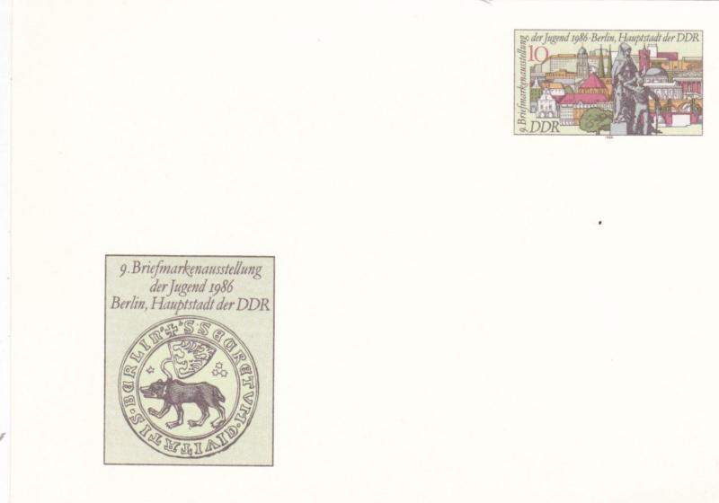 East Germany 1986 9th Youth Stamp Exhibition 10pfg Prepaid Postcard Unused VGC