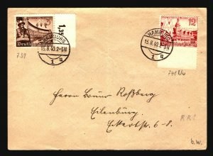 Germany SC# 496 PERF ERROR On Cover / Fold - Z17169