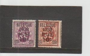 Belgium  Scott#  254-255  Used  (1933 Surcharged)