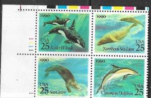 US #2508-11 $0.25 Sea Creatures Plate Block of 4 (MNH) CV $3.00