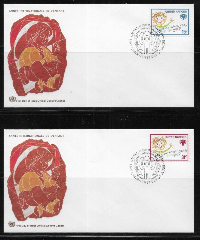 United Nations 310-11 IYC Year of the Child Geneva Cachet FDC First Day Cover